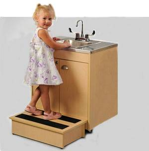 child height portable sink w stainless steel top