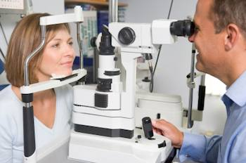 Lady undergoing an eye exam