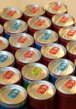 A batch of cans viewed from the top