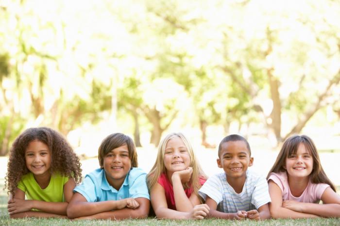 A group of schoolchildren outside