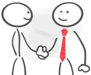 stickman handshake business man red