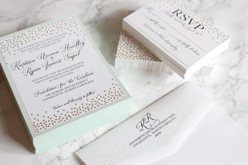 Mint And Gold Dot Wedding Invitations