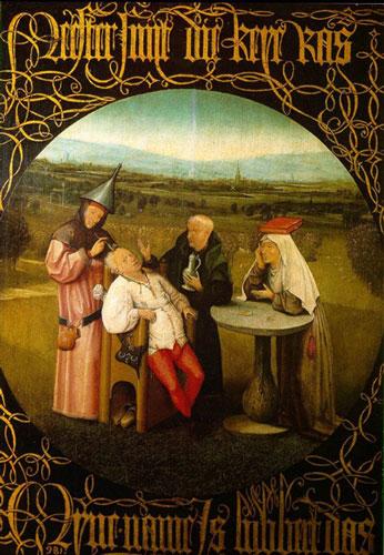 Galenskapens sten. Hieronymus Bosch. Pradomuseet i Madrid.