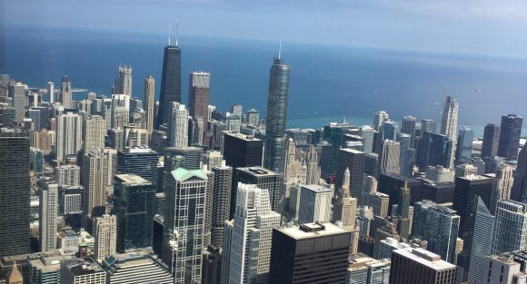 View of Chicago sky rises and Lake Michigan from the Willis Tower