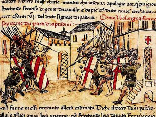 Depiction of a 14th C. fight (1369?) between the militias of the Guelf and Ghibelline factions in the Italian commune of Bologna, from the Croniche of Giovanni Sercambi of Lucca.
