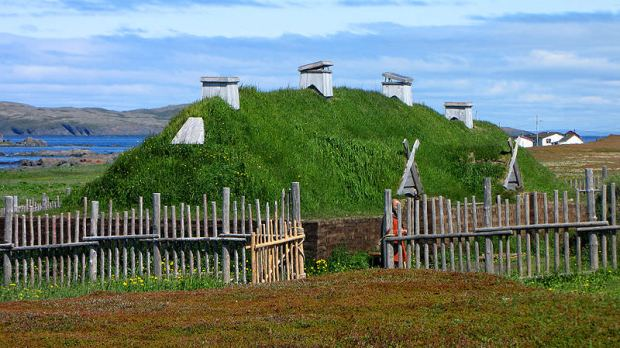 Norse long house recreation, L'Anse aux Meadows, Newfoundland and Labrador, Canada. Photo by D. Gordon E. Robertson