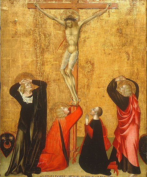 Donor portrait: Giovanni di Paolo's Crucifixion with donor Jacopo di Bartolomeo, named in the inscription and with his coat of arms at left, 1455 AD. (Wikipedia)