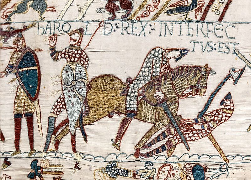 "Harold's death, scene 57 - Harold rex interfectus est, ""Harold the King is killed"", the Bayeux Tapestry . (Wikipedia)"