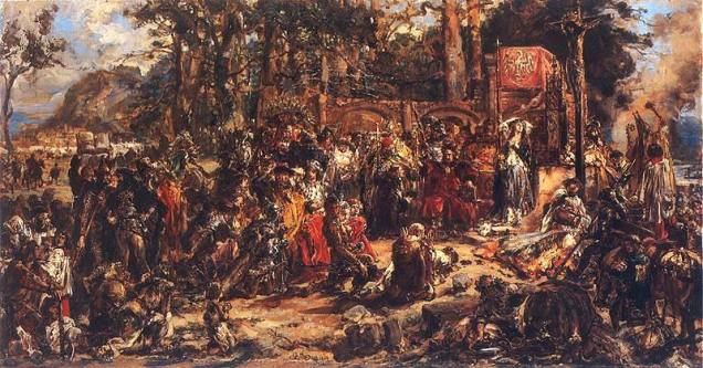 """""""Christianization of Lithuania in 1387"""", oil on canvas by Jan Matejko, 1889"""