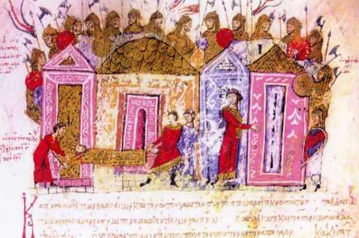 Varangian Guardsmen, an illumination from the 11th century chronicle of John Skylitzes.