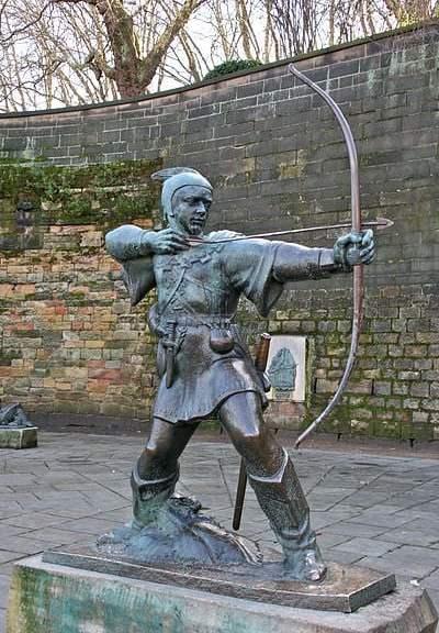 Robin Hood statue outside of Nottingham Castle - Photograph by Mike Peel
