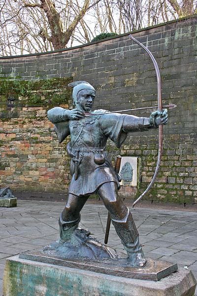 Robin Hood statue outside of Nottingham Castle - Photograph by Mike Peel