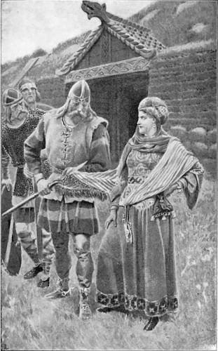 Illustration to Laxdœla saga, chapter 55. Guðrún Ósvífrsdóttir smiles as Helgi Harðbeinsson wipes his spear clean on her garment. Helgi has killed Bolli, Guðrún's husband, with the spear.