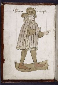 Full-page portrait of Sir John Mandeville. Created 1459.