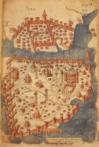 Constantinople - Map by Cristoforo Buondelmonti, a Florentine cartographer, from the volume Liber insularum archipelagi