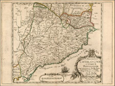 17th century map of Catalonia