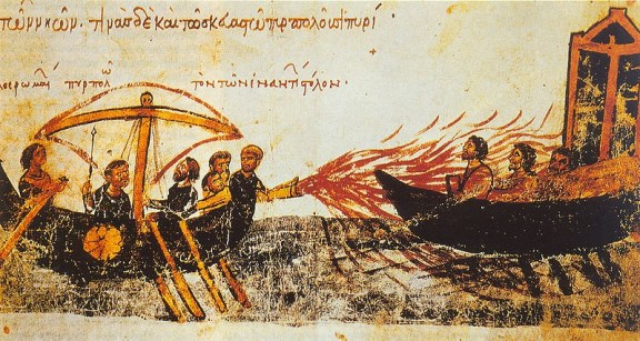 Image from an illuminated manuscript, the Skylitzes manuscript in Madrid, showing Greek fire in use against the fleet of the rebel Thomas the Slav
