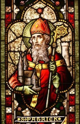 Stained glass window depiction of Saint Patrick