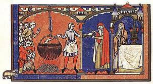 Medieval food - cook serving food