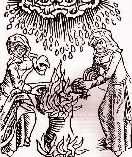 Witches cooking in a cauldron