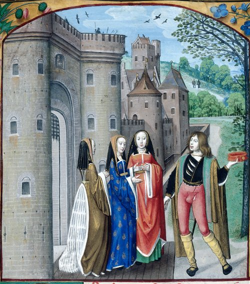 Detail of a miniature of the Castle of Love, with the lover addressing three women. Photo courtesy British Library