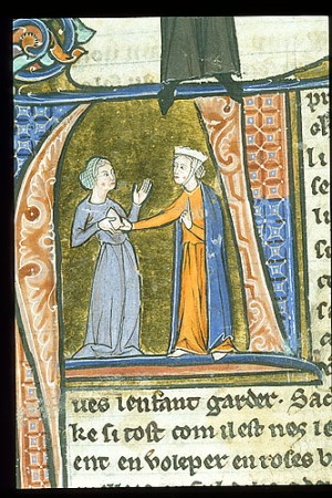 Detail of historiated initial 'A' with the choosing a wet-nurse: A noble woman tests the exposed breast of a propective nurse.