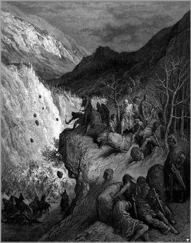 This image by Gustave Doré shows the Turkish ambush at the pass of Myriokephalon.
