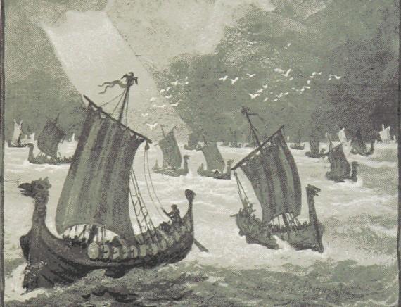 Vikings invading England - image fro  1893
