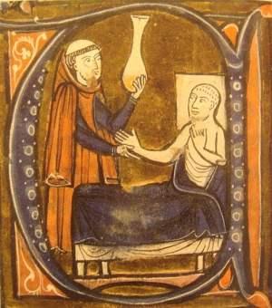 """European depiction of the physician Al-Razi, in Gerardus Cremonensis """"Recueil des traités de médecine"""" 1250-1260."""