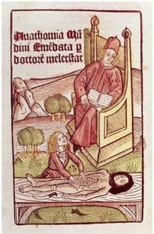 """Mondino de Luzzi, """"Lesson in Anatomy"""", originally published in Anatomia corporis humani, 1493."""