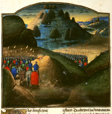 Miniature of Alexander the Great and his army make a sacrifice on the night before the Battle of Issus in Vasco da Lucena's French translation of Rufus's Historia Alexandri magni.