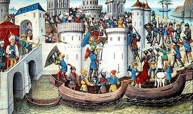 Conquest of Constantinople by the Crusaders in 1204.