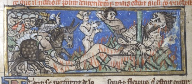 Detail of a miniature of a giant being burnt to death on Alexander's orders. Image from British Library