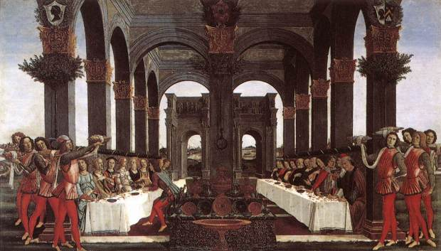 renaissance table manners - The Wedding Banquet by Bottacelli