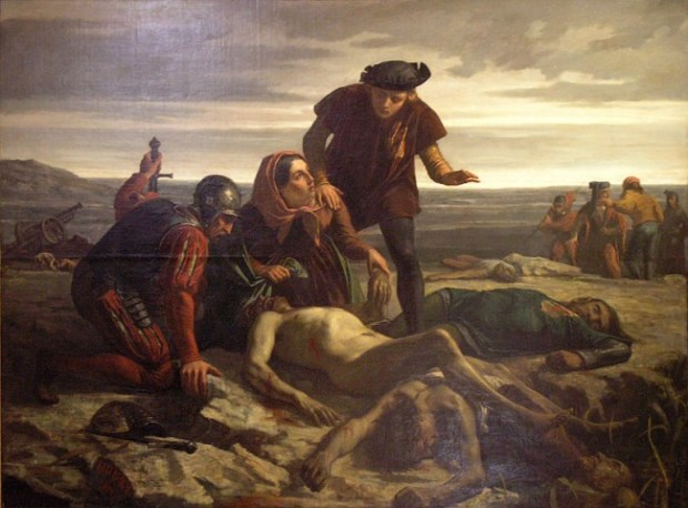 The corpse of Charles the Bold, duke of Burgundy, discovered after the Battle of Nancy, 1477. 19th century painting