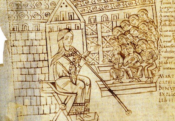 medieval education - Martianus Capella, Noces de Philologie et de Mercure La Grammaire et son amphithéâtre d'élèves Commentaire partiel de Rémi d'Auxerre Italie (?), Xe siècle