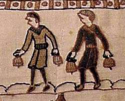 Hand bell ringers at Edward the Confessors funeral from the Bayeux Tapestry