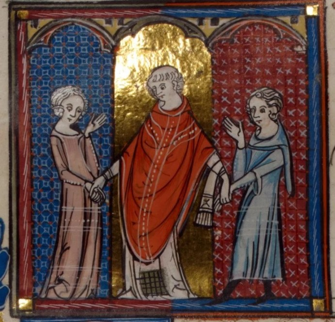 Detail of a miniature of a priest marrying a couple.