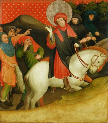 Master Francke, The Mocking of Saint Thomas Becket, ca. 1424. Panel from the Saint Thomas Altarpiece, Hamburger Kunsthalle, Hamburg, Germany