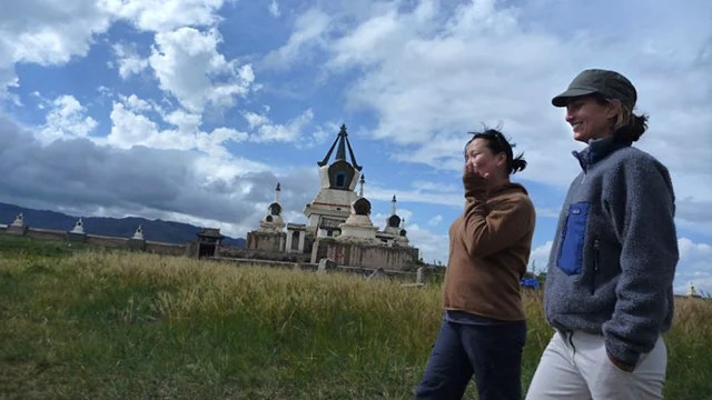 Amy Hessl (right) in Mongolia.