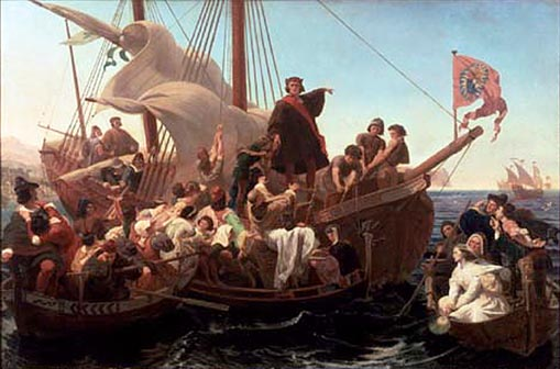 19th century painting of Christopher Columbus on Santa Maria in 1492