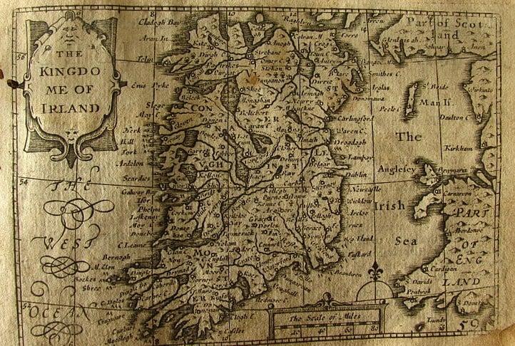 17th century map of Ireland