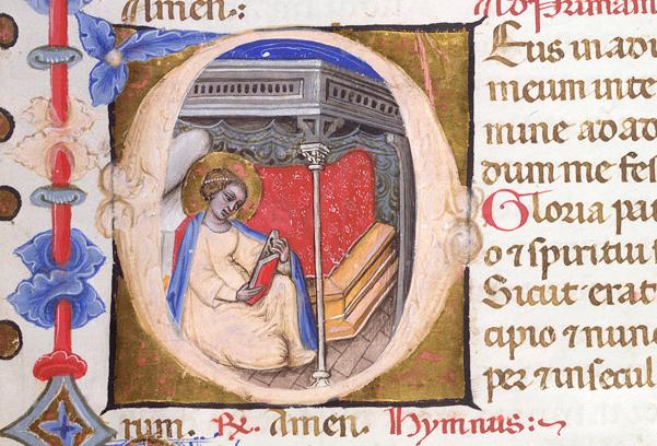 Historiated initial 'D' of the Virgin reading in her bedchamber,