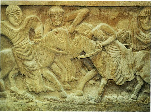 Murder of Dagobert II - carving from the crypt at Stenay-sur-Meuse.