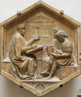 Priscian, or the Grammar, relief from the bell tower of Florence by Luca della Robbia