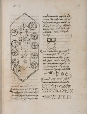 Magical table and symbols in the Magical Treatise of Solomon.