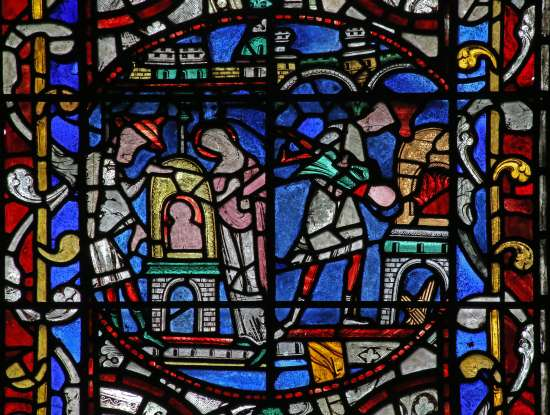 2 scenes from the Miracle of the Jewish Boy from Bourges, Lincoln Cathedral (www.therosewindow.com)