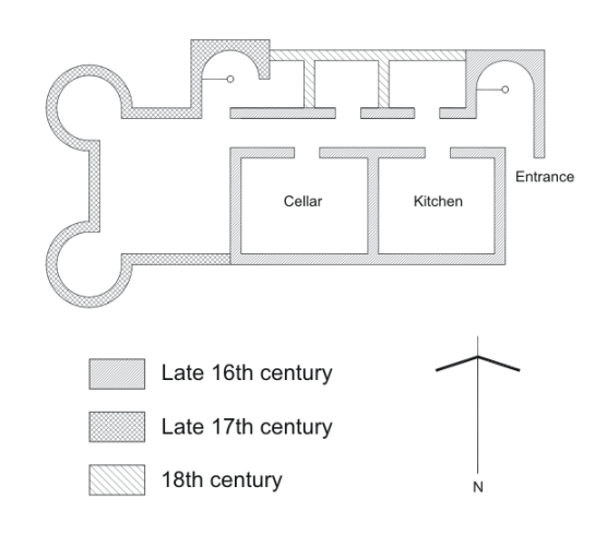 Floor plan of Bedlay Castle with approximate dates of construction.