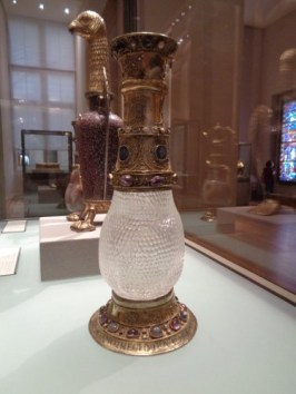 "The ""Eleanor"" vase, a reputed gift from Eleanor of Aquitaine to the Abbey of Saint-Denis, with the eagle of Abbot Suger behind. Photo by Danielle Trynoski"
