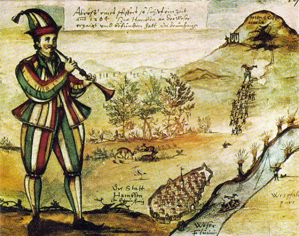 Earliest depiction of the Pied piper